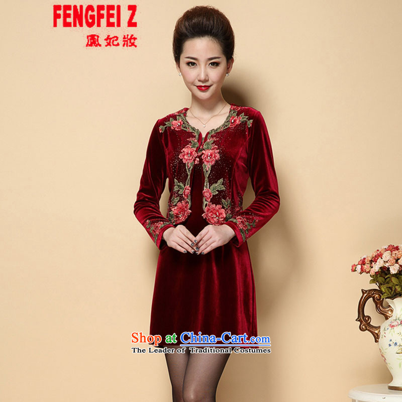 Feng Fei, Colombia15 2015 Autumn replacing the new Marriage wedding wedding dress mother with two-piece set emulation Kim velvet older #6221?5XL wine red