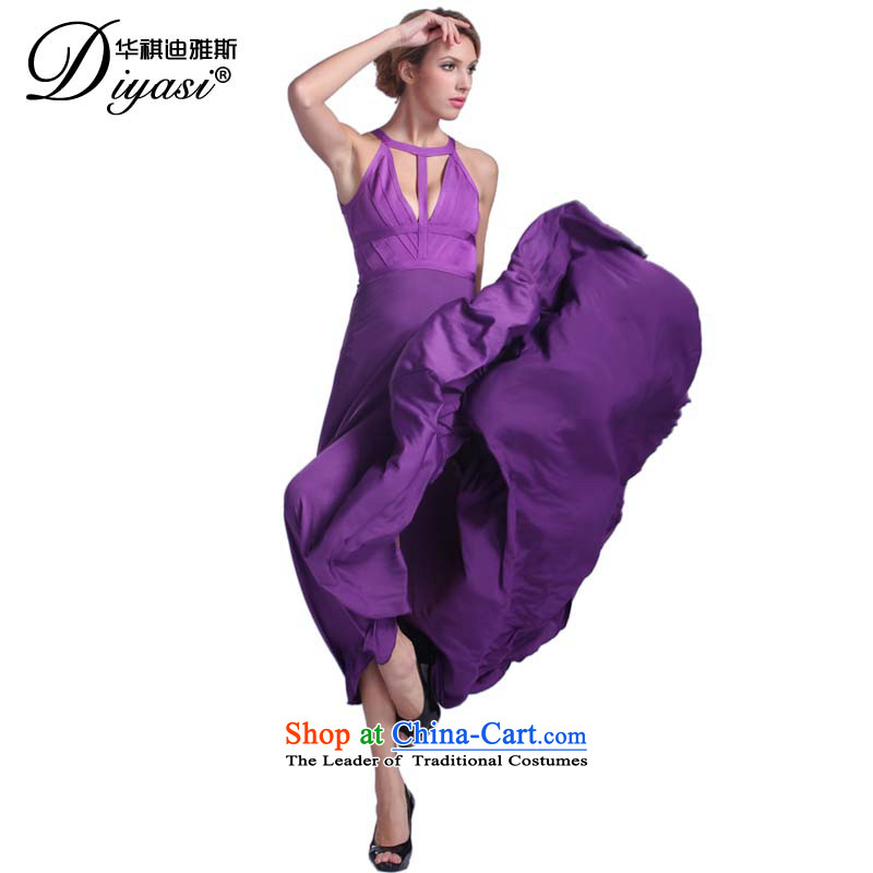 Hua Qi Avandia, sexy straps, evening dress noble annual purple temperament long skirt dresses purple�XXSTOXL)