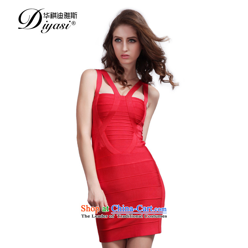 Hua Qi Avandia, summer new marriage bridesmaid bows clothing/sexy straps package and bandages short skirt, Red?M