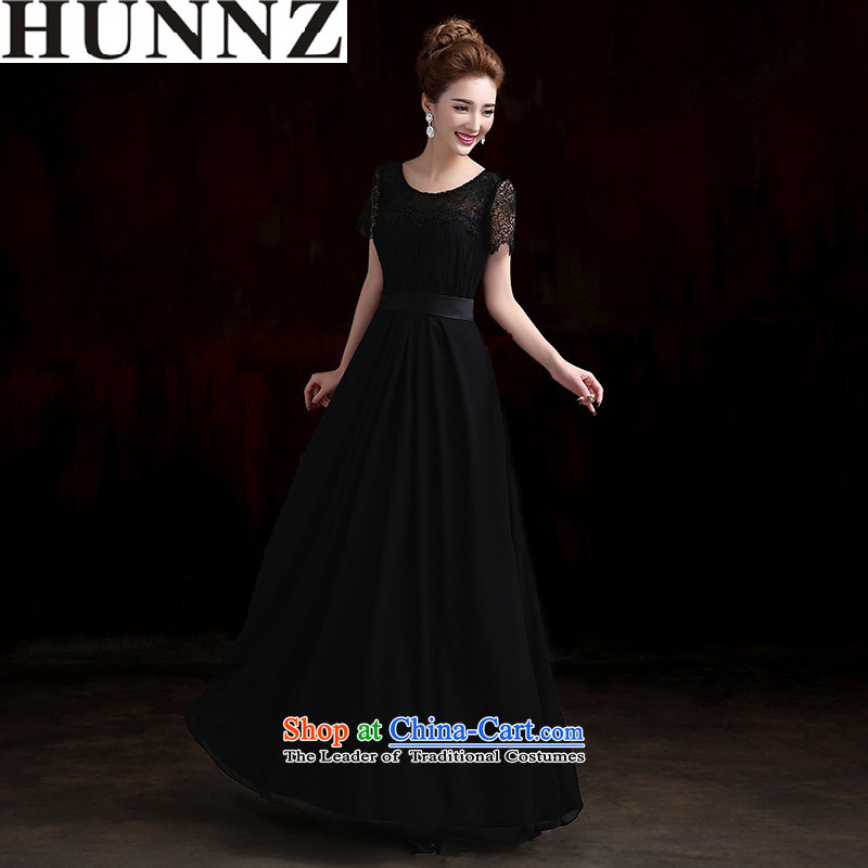 ?   ?New stylish HUNNZ Spring/Summer 2015 Long pure colors black package cuff bridal dresses bows services evening dresses black?L