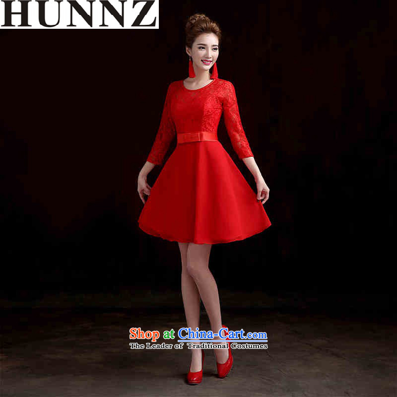 Large 2015 HUNNZ stylish new Sau San tie spring and summer evening dress bridal dresses banquet service book, red bows short�M