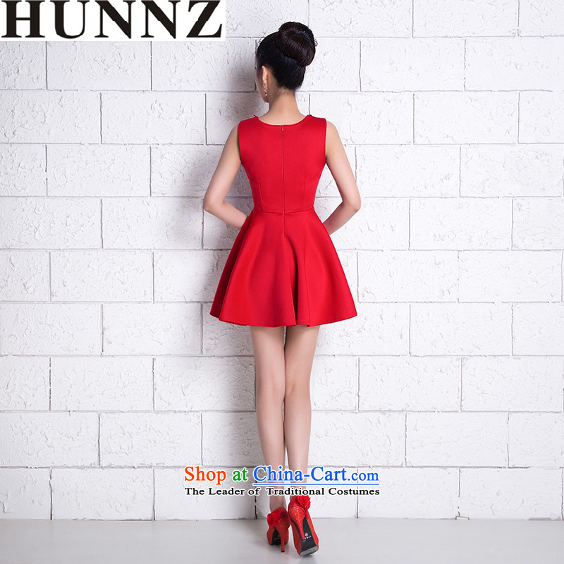 ?   ?New stylish HUNNZ Spring/Summer 2015 large Korean style red dress bows service banquet bridal dresses RED?M
