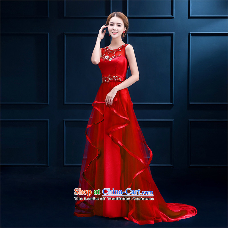 The first white into about?2015 Autumn new shoulders red stylish evening dresses large banquet long thin bride toasting champagne Sau San video service female red?XL