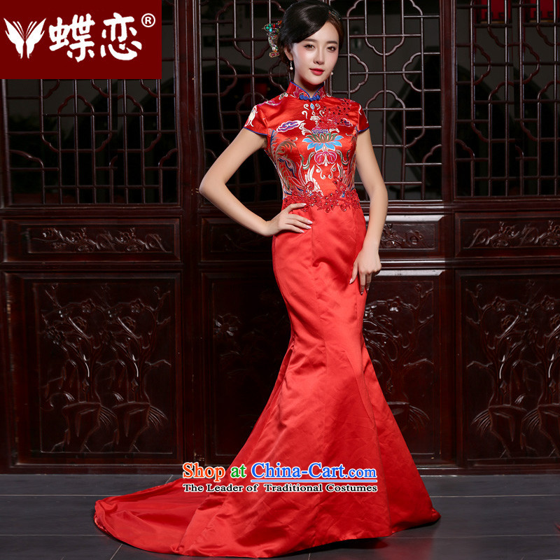 The Butterfly Lovers the summer and autumn of 2015 the new bride bows to Sau San crowsfoot long tail red wedding dress red - pre-sale 7 days?XL