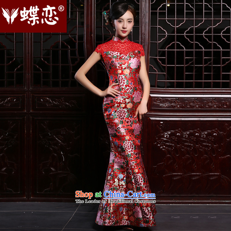 The Butterfly Lovers the summer and autumn of 2015, replacing the new Marriage bows service long retro crowsfoot cheongsam dress red Sau San improvement - pre-sale 5 days?L