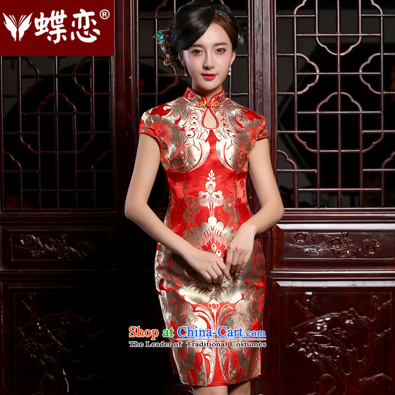 The Butterfly Lovers in summer and autumn 2015 installed new retro short) bows service improvement and stylish dress marriages cheongsam red?S