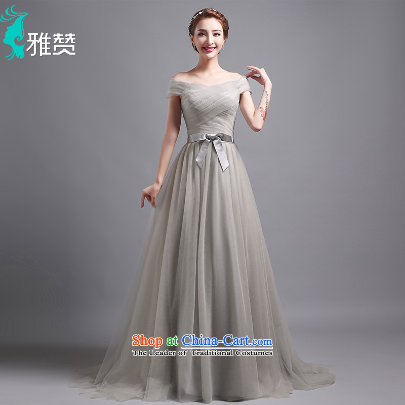 Jacob Chan-il field shoulder dress light gray dress long small trailing new summer and fall of 2015 Sau San video thin chiffon Bow Tie Straps, dress skirt?XL