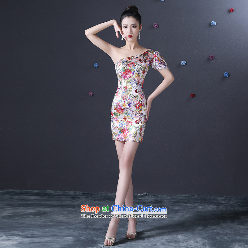 The new 2015 hannizi spring and summer Korean short of stylish and sexy evening dresses bride dress bows services and sexy shoulder White?M