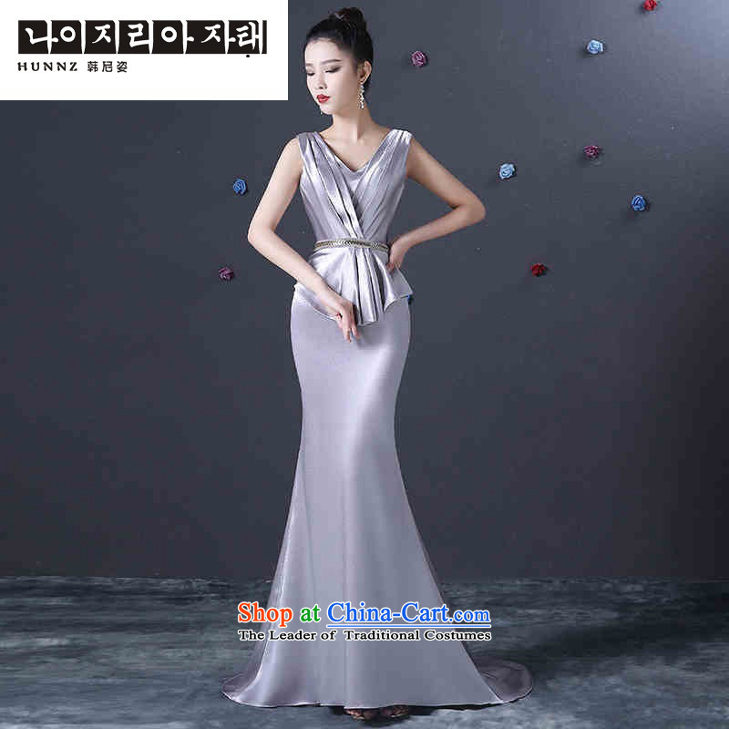 Name of the new 2015 Silver hannizi spring and summer stylish deep V long bride services evening dresses silver bows?M
