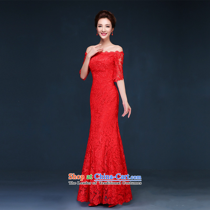 Name of the new summer 2015 hannizi long stylish Korean word shoulder bridesmaid service bridal dresses evening dresses red?L