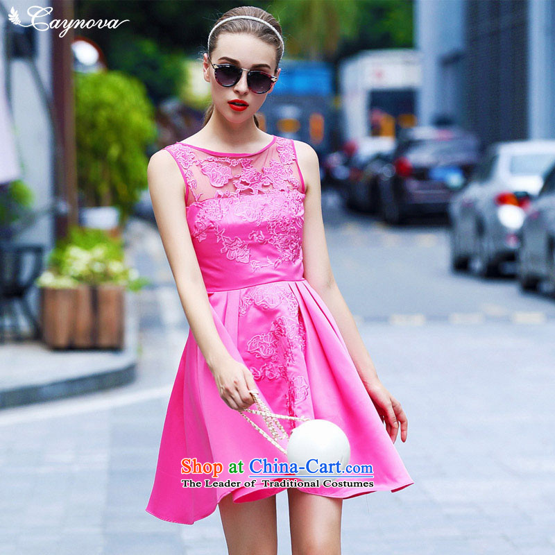 The fall of new products in Europe caynova2015 stylish elegance embroidered dress skirts of Sau San video thin red better?S