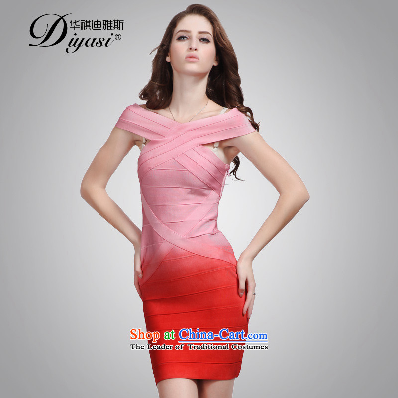 Hua Qi Avandia, 2015 new marriage bridesmaid bows to the word sexy shoulder bags and bandages short skirt) red gradient?M