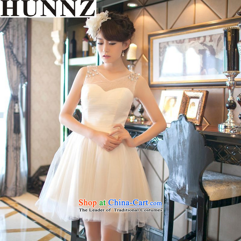 ?   ?Korean fashion 2015 HUNNZ new spring and summer a bride dress toasting champagne shoulder field service uniforms bridesmaid banquet dress light champagne color?XL
