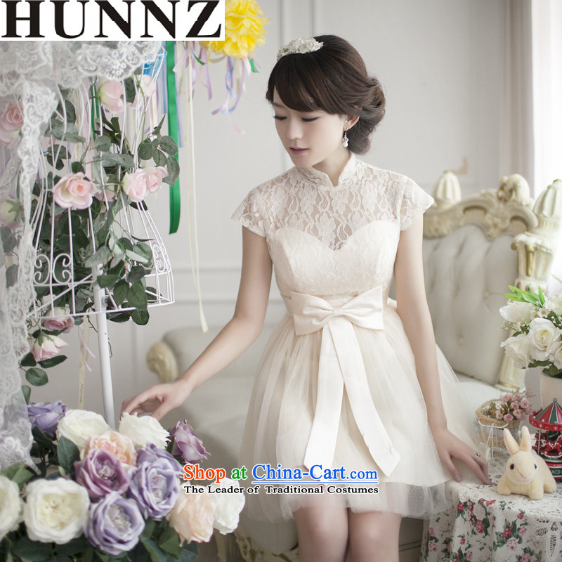 New stylish 2015 HUNNZ 2015 Korean dress package shoulder lace bridal dresses bows service light champagne color?L