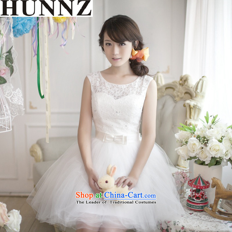 �   �New stylish HUNNZ Spring/Summer 2015 Korean bridal dresses simple graphics thin large banquet dinner dress White�XXL