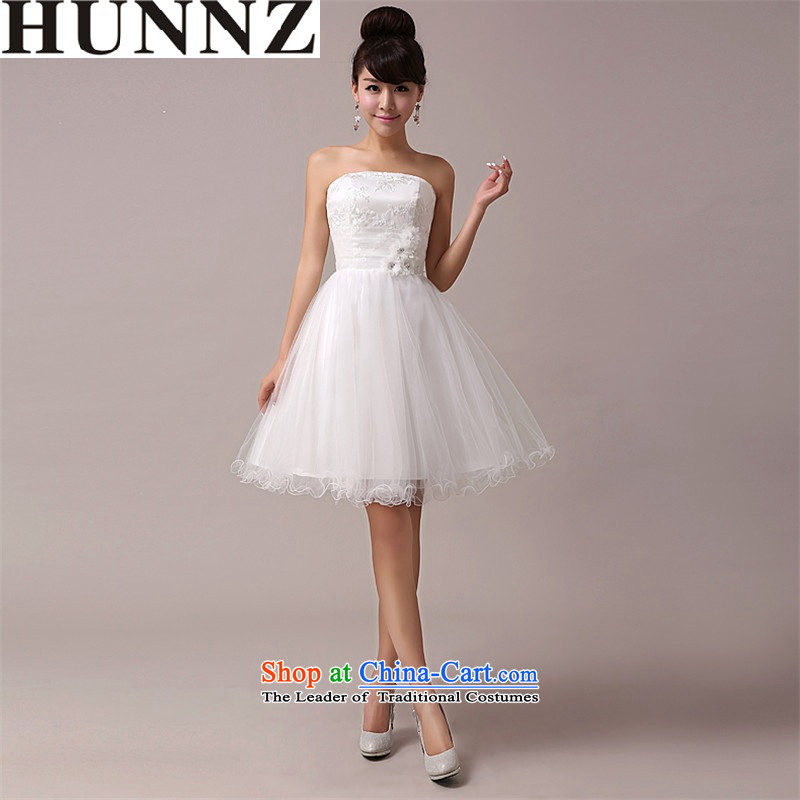 2015 new stylish HUNNZ larger Sau San minimalist banquet evening dresses bride dress bows bridesmaid services services white?L