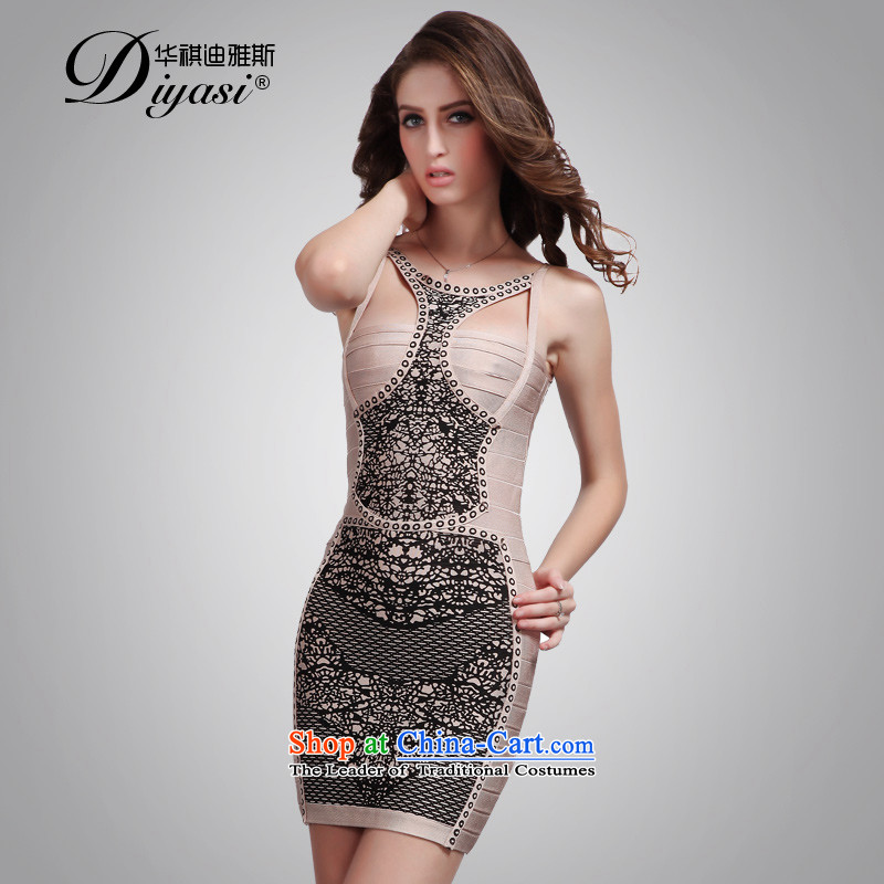 Hua Qi Avandia, 2015 new stamp forming the stylish skirts and sexy straps and short of Sau San package bandages dress apricot?L