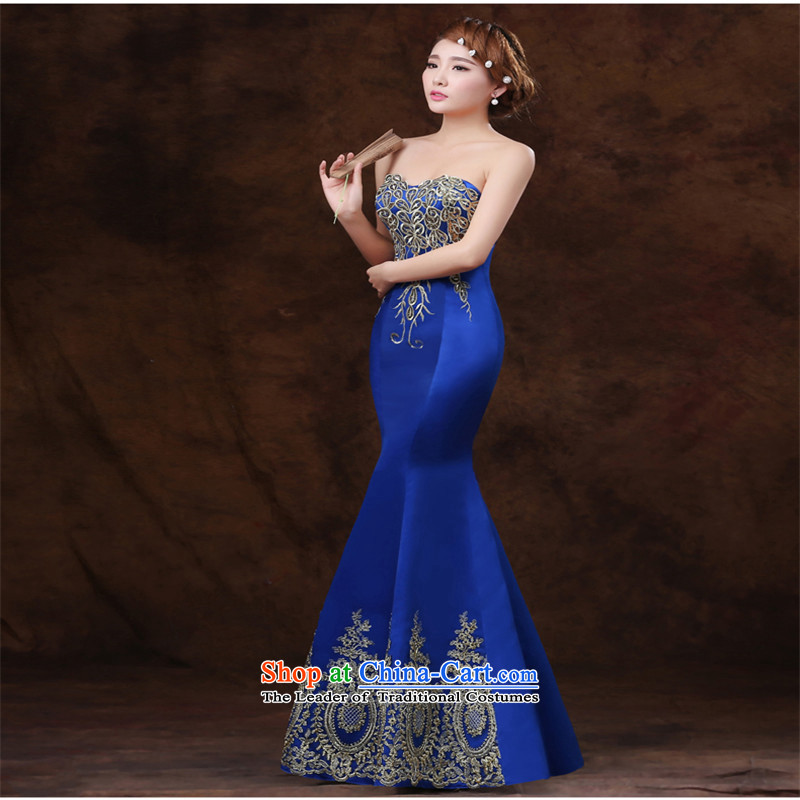 Name of the new 2015 stylish hannizi lace banquet dress crowsfoot long gown bows services blue bride?XL