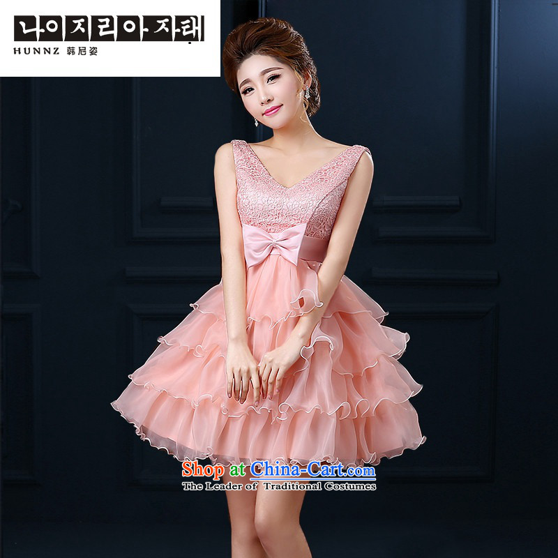 Name of bon bon hannizi skirt straps 2015 new stylish Korean bridal dresses V-Neck sweet evening dresses Yuk-pink?L