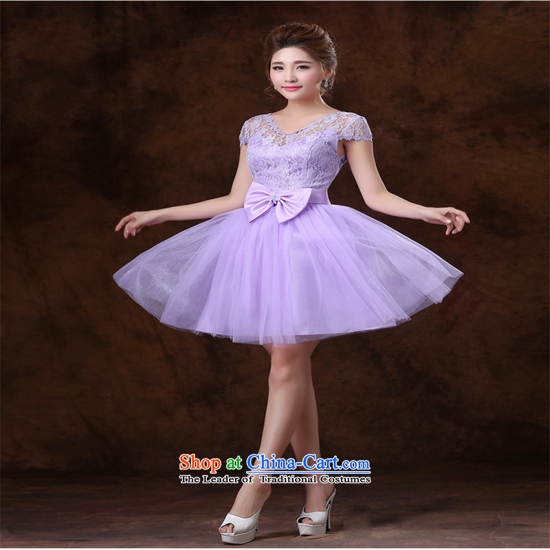 Name of the new 2015 hannizi Stylish spring and summer Korean word lace bridal dresses shoulder banquet evening dresses toner purple package shoulder,?S