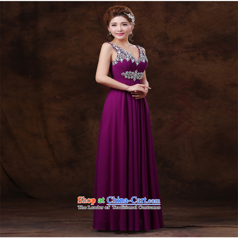 The name of the Korean trendy hannizi code 2015 new spring and summer tie bows service bridal dresses sweet purple�L
