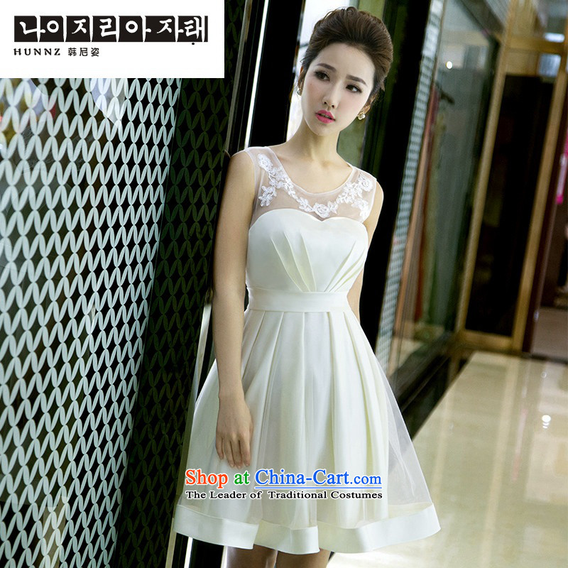 Name of the new trendy hannizi 2015 Spring_Summer minimalist large short of Sau San service bridal dresses toasting champagne evening dress light champagne color?XL