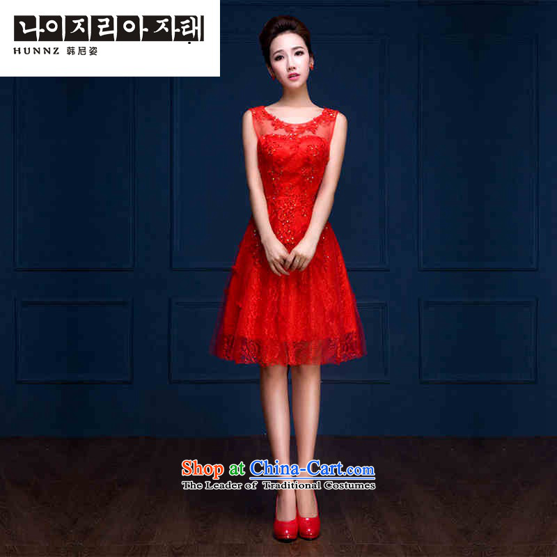 The name of the Korean-style red 2015 hannizi stylish new Sau San short, banquet evening dresses bride bows services red?L