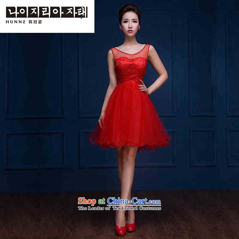 Name of the new 2015 hannizi spring and summer Korean fashion with short of Sau San evening dresses bows service bridal dresses red?XXL