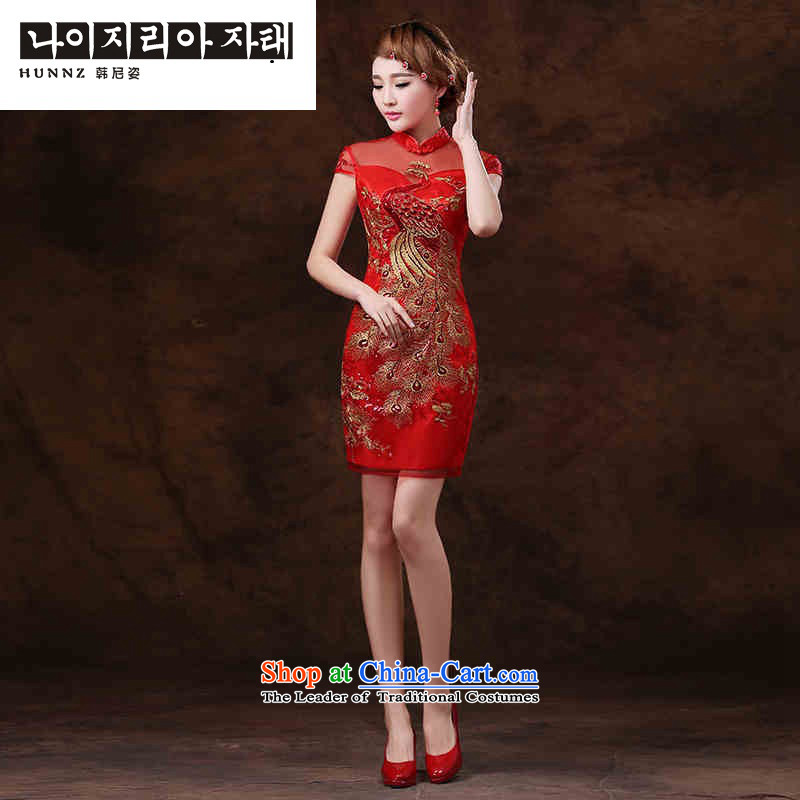 The name of the Korean-style 2015 hannizi new larger bride dress bows service     Graphics thin red dress?XL