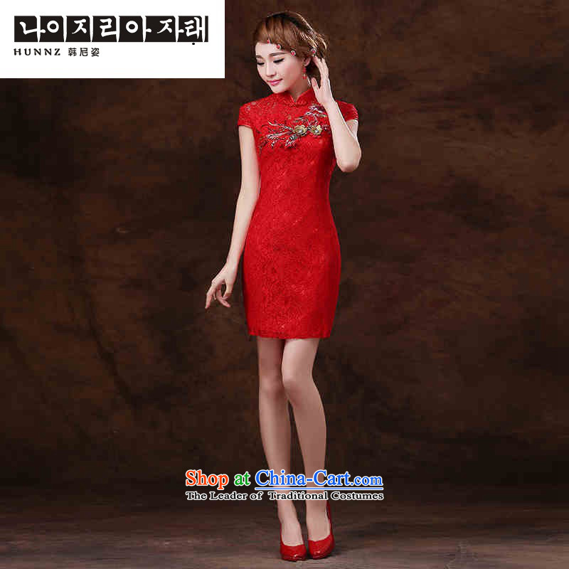 Name of the spring and summer of 2015 New hannizi stylish dameisha video thin qipao gown brides Sau San evening dresses red�XL