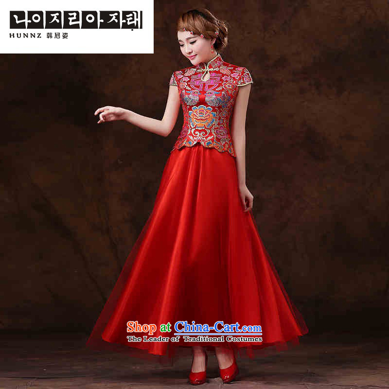 Name of the new Korean-style hannizi 2015 Spring/Summer retro bridal dresses bows services simple graphics thin evening dresses red�S