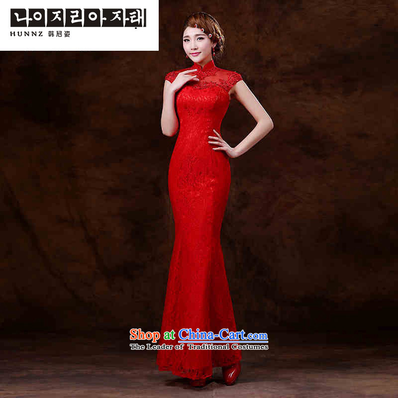 Name of the bows services 2015 new hannizi Stylish spring and summer retro long banquet evening dresses bride dress red?L