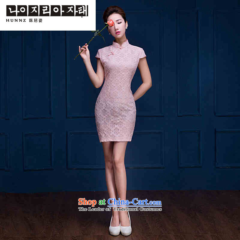 Name of the new trendy 2015 hannizi Korean style spring and summer bows service bridal dresses elegant banquet evening dresses pink?XL