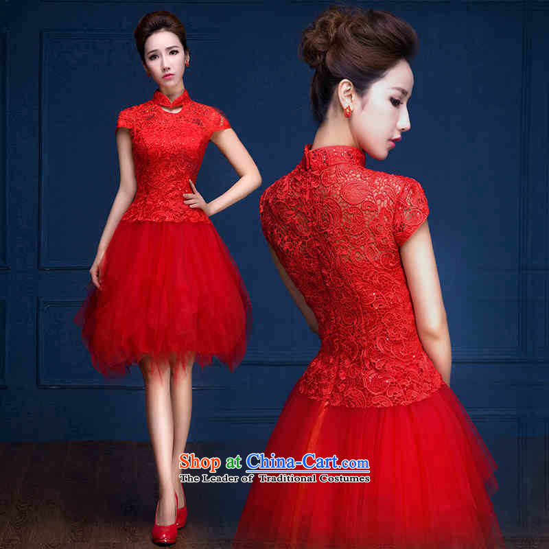 Name of the new trendy hannizi 2015 spring/summer gown bride retro short, banquet evening dress uniform red?XXL toasting champagne