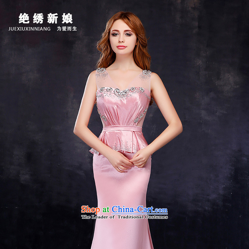 Summer 2015 new sexy shoulder larger graphics and slender, marriages evening dresses crowsfoot bows services Pink Sau San?L?Suzhou Shipment