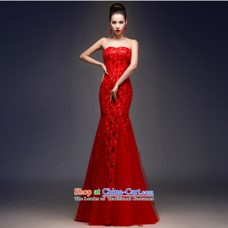 The first white into about wedding dresses and Chest Service 2015 Autumn crowsfoot bows new stylish Sau San marriages evening dresses long strap, XXL