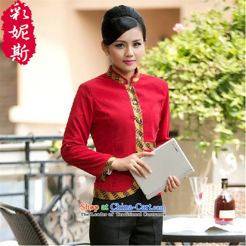 The hotel has coffee shop that Black Butterfly Hotel Workwear Kukeng welcome long-sleeved autumn and winter for women, red (T-shirt) XL