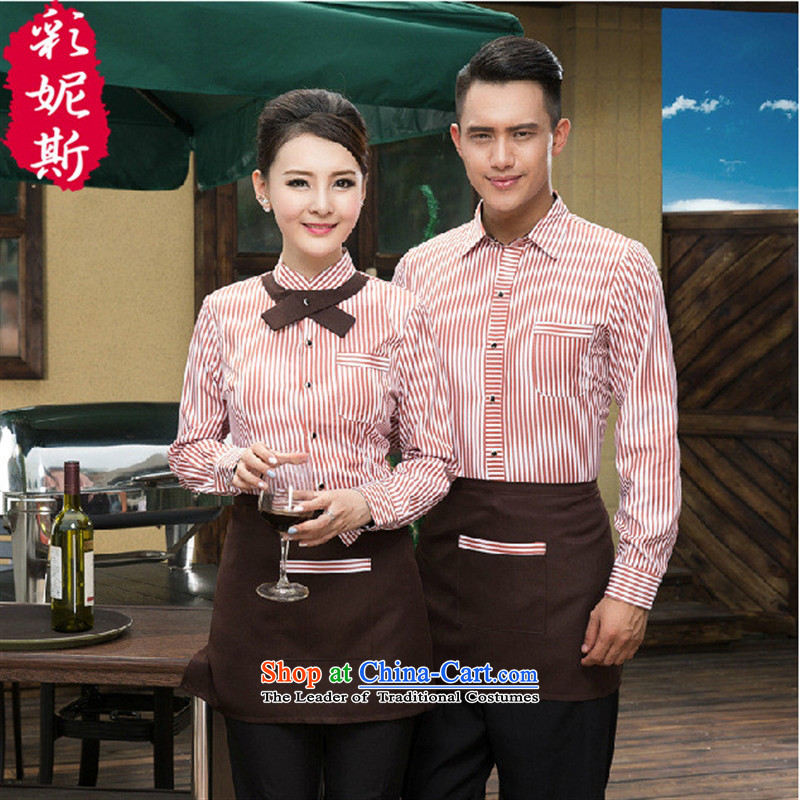 The Black Butterfly men and women work in the autumn and winter clothing hotel restaurant cafe waiters long-sleeved shirt and purple striped T-shirt + apron_ _XXXL