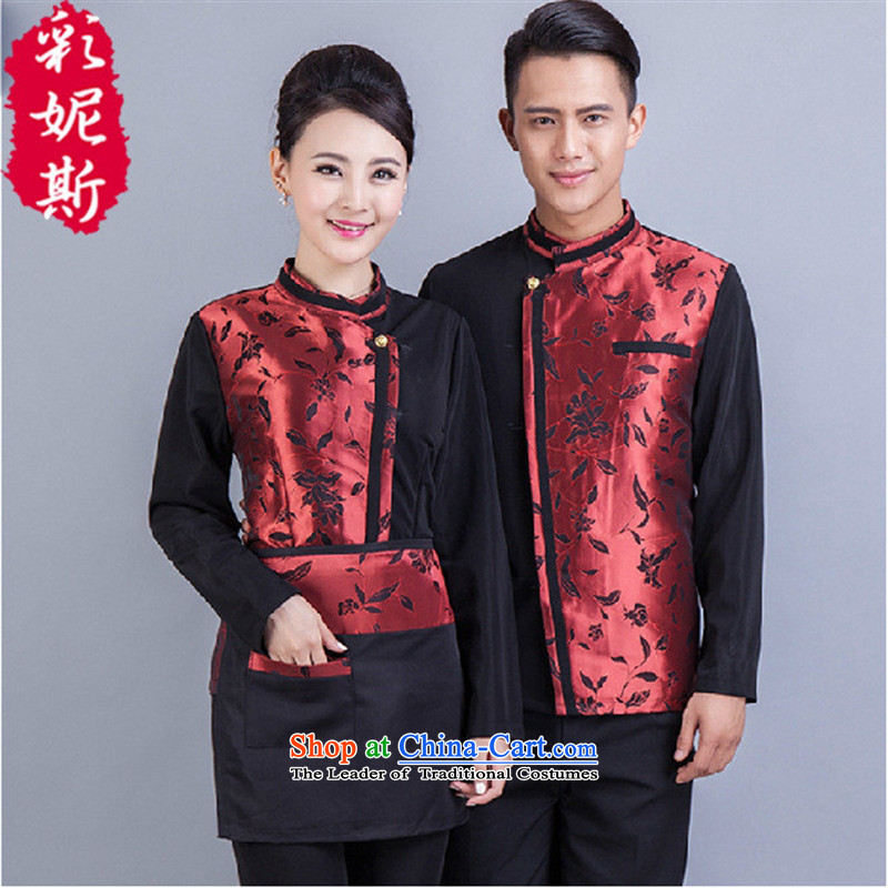 The hotel restaurant is Black Butterfly hotel staff working clothes for men and women for autumn and winter, thick overalls female red T-shirt + apron) (XL