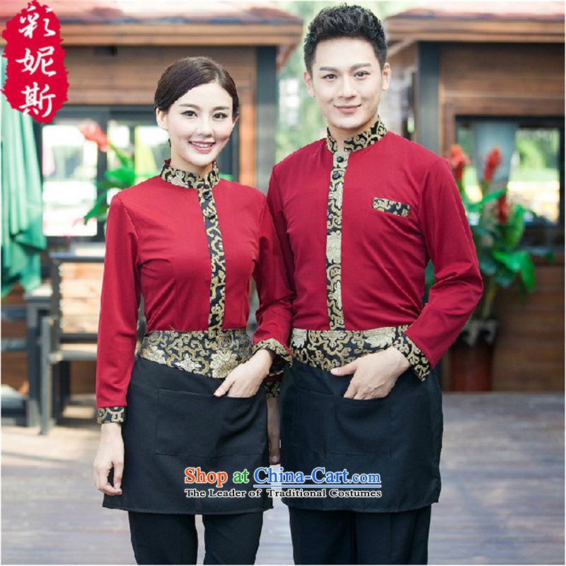 The hotel restaurant waiters Black Butterfly Workwear men Fall_Winter Collections long-sleeved Hot Pot Cafe with male red T-shirt + apron_ _M