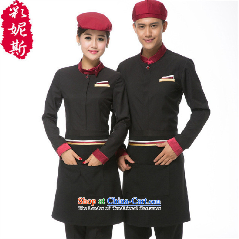 The Black Butterfly men and women of long-sleeved Fall_Winter Collections hotel cafe restaurant waiters working clothes men pot blue shirt + apron_ _L