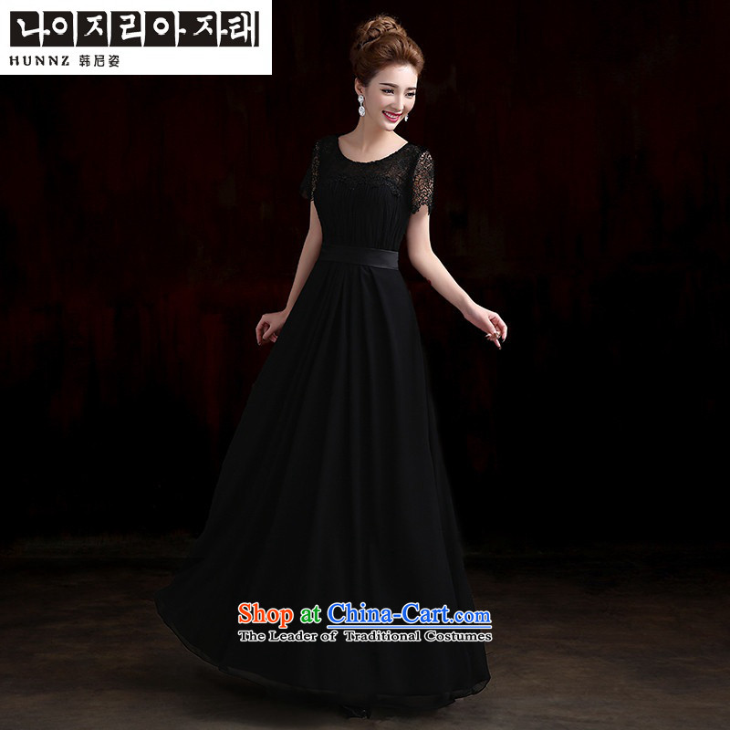 Name of the new 2015 hannizi spring and summer Korean bridal dresses black pack cuff bows service banquet evening dresses black?M