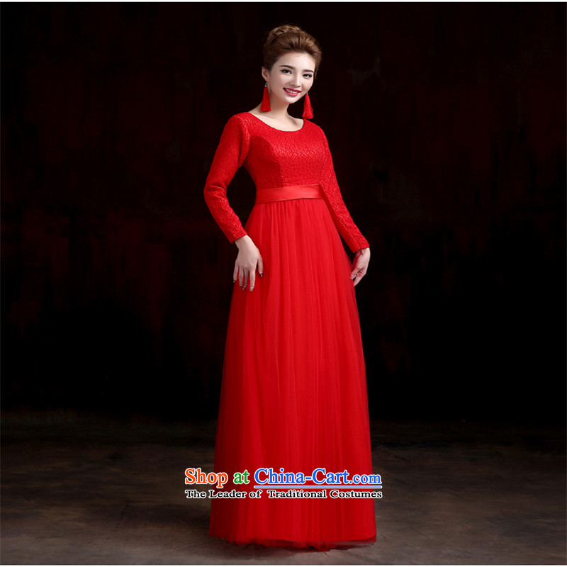 The name of the Korean-style integrated hannizi with a Shoulder Solid Color 2015 Field spring and summer new bride dress banquet evening dresses red long length?L