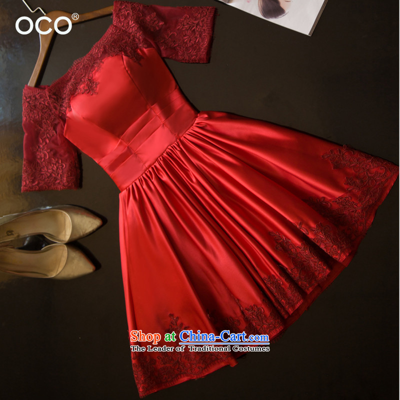 The TOCO new wine red marriages bows services of the word of the Dress Short shoulder evening dresses dresses 2015 summer back door onto wine red?S