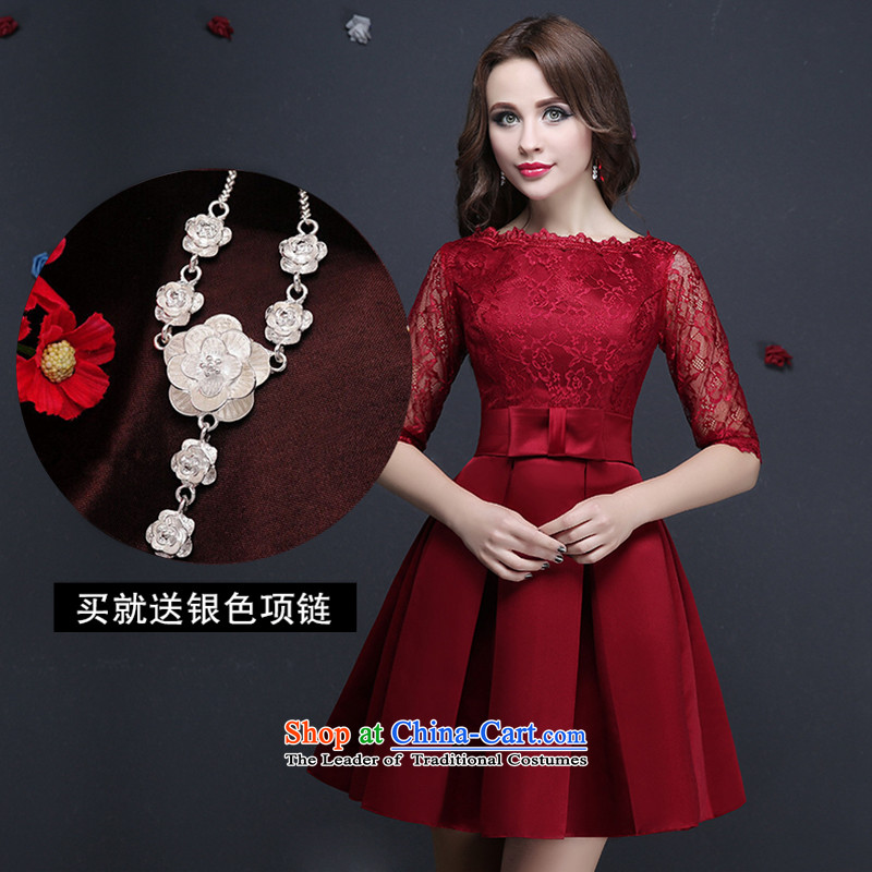 Name of lace bows services hannizi 2015 new spring and summer bridal dresses Korean word   shoulder dress wine red?L