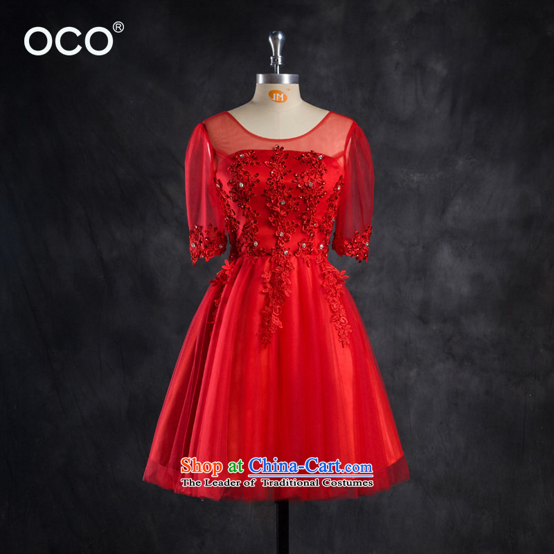The new bride OCO2015 summer load marriage wedding dress moderator dress lace short, bows to female Diamond red?L