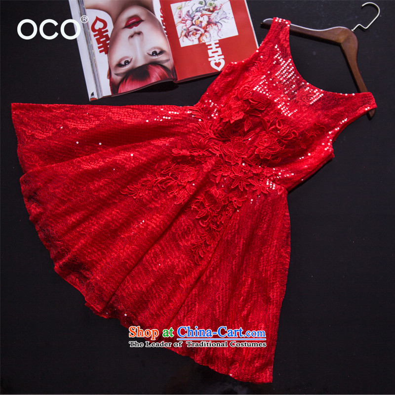 2015 new marriages bows services summer is shorter, banquet evening dresses on chip birthday small short skirt lace red dress red?S