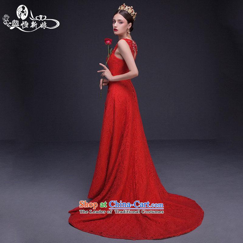 Noritsune bride long gown 2015 new summer red lace tail evening dresses video thin marriage bows services new products for the pre-sale of fine custom red?L