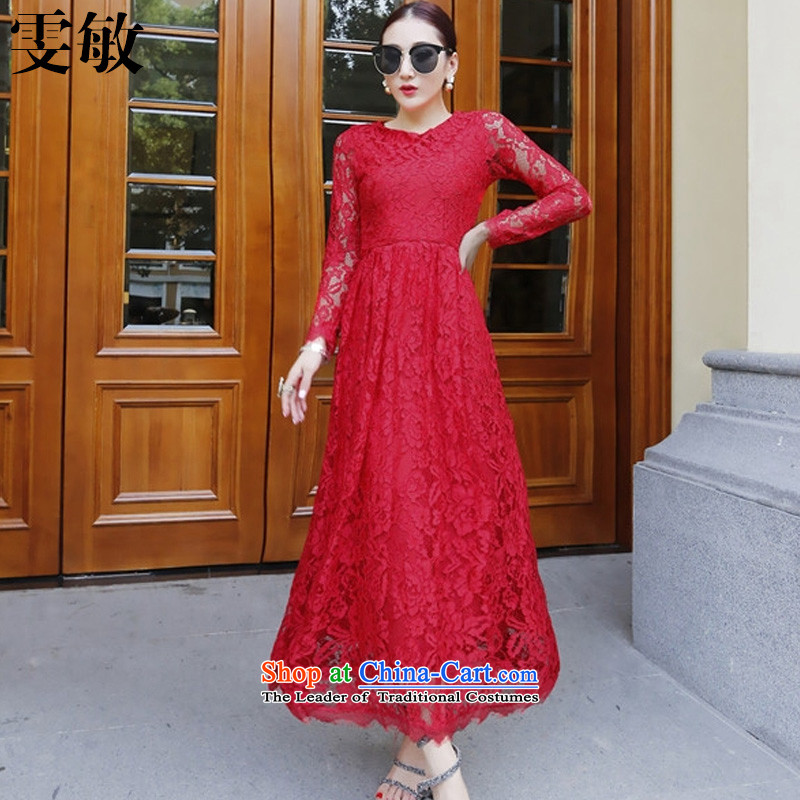 Wen Min 2015 new Western big sexy round-neck collar lace Foutune of large dress dresses 9,153 applications have been RED?M