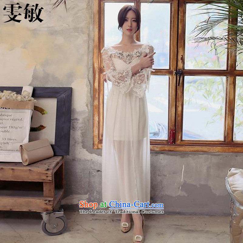 Wen Min 2015 Korean name Yuan Ye children with wind heart of a field for embroidery skirt the word shoulder bare shoulders dress skirt 8207# female white?S